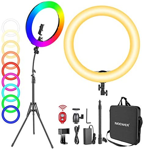 Neewer 18-inch RGB Ring Light with Stand, 42W Dimmable Bi-Color 3200K-5600K CRI 95+ LED Ring Light with 0-360 Full Color, 9 Special Scenes Effect for Selfie/Makeup/Party/Vlog/YouTube Video Shooting