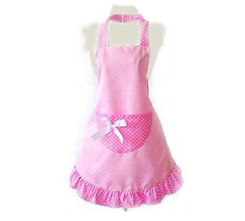 WASKY Hot Lovely Cheap Funny Aprons Pink Girls Women Cupcake Shop Fashion Flirty Apron with Pocket