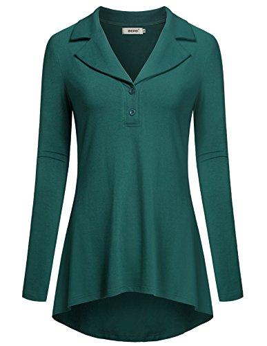 BEPEI Tunic Tops Leggings Women,Long Sleeves Shirts Blouses Juniors Soft Petite Cross V Neck Modern Chic Ruffled Flared Hem Blusas Stretchy Cozy Peasant Boutique 70s Clothing Green M