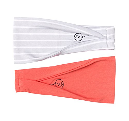 """Women's Headband Yoga Running Exercise Sports Workout Athletic Gym Wide Sweat Wicking Stretchy No Slip 2 Pack Set Grey White Peach Pink """"SUNRISE"""" by Maven Thread"""