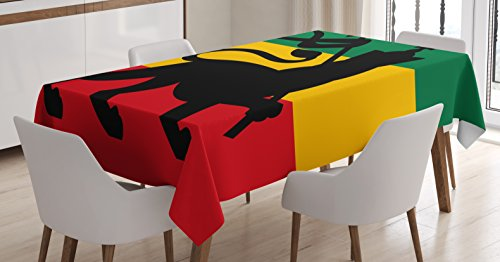 Ambesonne Rasta Tablecloth, Rastafarian Flag with Judah Lion on Reggae Music Inspired Decor Image, Dining Room Kitchen Rectangular Table Cover, 60 W X 84 L Inches, Yellow Black
