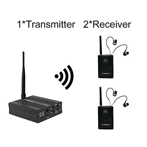 TP-WIRELESS 2.4GHz Professional in-Ear Digital Wireless Stage Audio Monitor System (1 Transmitter and 2 Receivers)