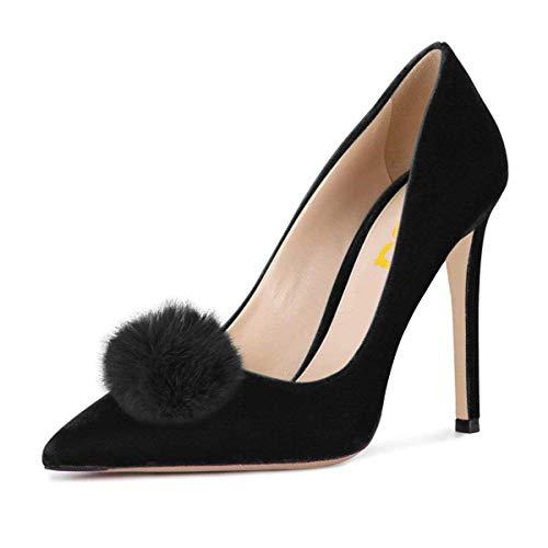 FSJ Women Fashion Stiletto Heels Pointy Toe Pumps Velvet Fluffy Pom Pom Slide Dress Shoes Size 8.5 Black