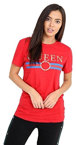 95ab8e44 Momo&Ayat Fashions Ladies Queen Stripe Slogan Printed T Shirt UK Size 8-14  (S