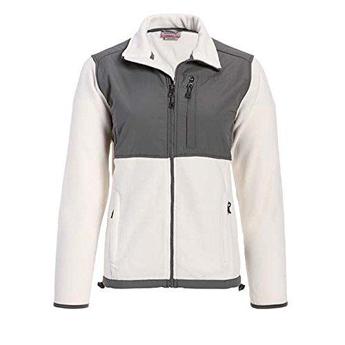 Cream Fleece Jacket - Landway Women's Zippered Pockets Nylon Micro Fleece Jacket, Cream/Charcoal, M