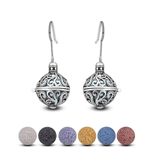 (INFUSEU Dangle Hook Earrings Essential Oils Flower Drop Earrings Women Aromatherapy Diffuser Jewelry)