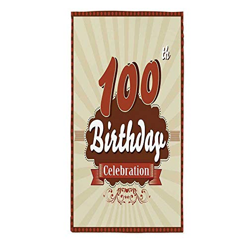 100th Birthday Decorations Polyester Tablecloth,Chocolate Wrap Like Brown Party Invitation Hundred Years for Wedding Banquet Restaurant,30.3''W X 60.2''L ()