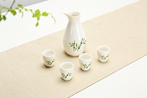 Japanese Ceramic Sake Cup - Gift Pro 5 Pcs Japanese Style Sake set Hand Painted Design Porcelain Pottery Traditional Ceramic Cups Crafts Wine Glasses (Style 7)