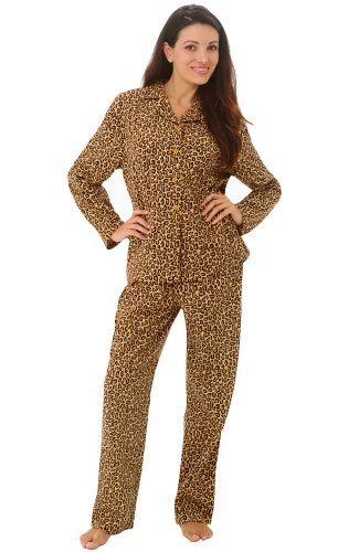 Del Rossa Women's Flannel Pajama Set - Medium / 4-8 - Leopard Print (4 Leopard)