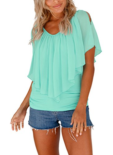 Dearlovers Summer V Neck Cold Shoulder Chiffon Blouses and Tops for Women X-Large Size Cyan (Top Slit Back)