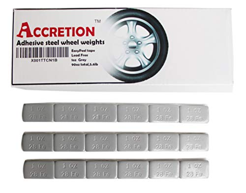 Accretion 1 Oz, Grey Wheel Weights (Lead Free). USA Made White Tape Backing. Corrosion Resistance, Low Profile. 90 Oz Total, 5.6 Lbs(90 Pcs)
