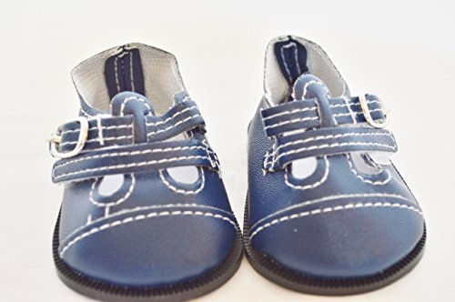 TWO BUCKLE NAVY BLUE LEATHER DOLL SHOES FOR 18 INCH AMERICAN GIRL DOLLS AND BITTY TWINS