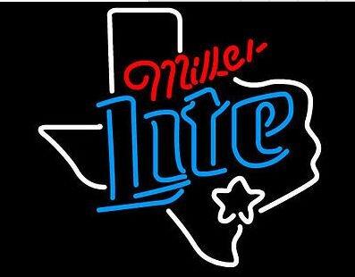 - Texas - Miller Lite - Dallas - Real Glass Beer Bar Pub Decor Neon Signs 19x15
