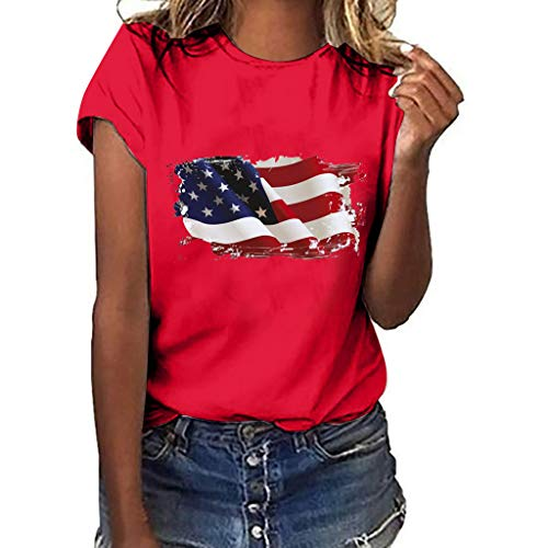 TnaIolral Women Independence Day T-Shirt National Flag Print Short Sleeve Plus Size Tops (XXXL, Red)