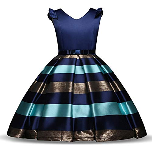 Baby Girls Striped Dress for Girls Formal Wedding Party Dresses Kids Princess Christmas Dress Up Children Girls,As Photo3,4T ()