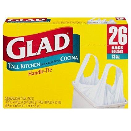 Glad, Tall Kitchen Bags Handle Tie, 13 Gallon - 26 Ea