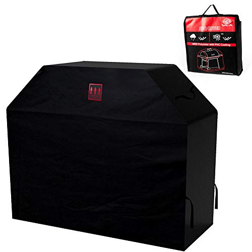 Turtle Life 63 inch BBQ Grill Cover, Heavy Duty Premium Durable Waterproof BBQ Cover for Weber, Brinkmann, Char Broil etc(Black)
