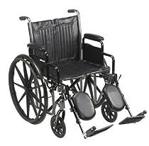 20 Wheelchair, Steel Frame, Black, Detachable Desk Arm, Swing Away Elevating Leg Rest, 350 Lb. Capacity