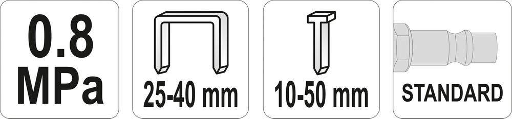 Druckluft-Nagler Kombi f/ür Klammern 25-40 mm und Stifte 10-50 mm Streifennagler Klammerger/ät Tacker