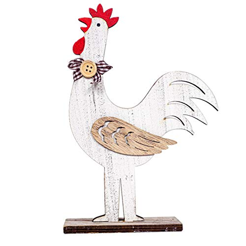 856store Nordic Wooden Lovely Hen Rooster Easter Ornament Festival Home Shop Decoration