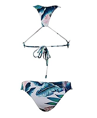 Anzona Womens Forest Tropical Leaves Printing High Neck Halter Bikini Set Swimsuit