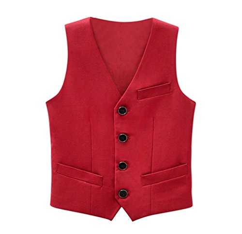 Tortor 1Bacha Kid Boys' Special Occasion Solid Tuxedo Vest Waistcoat Red 7-8 Years by Tortor 1Bacha
