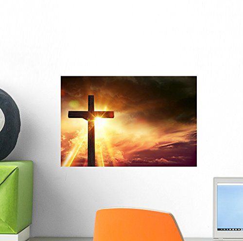 Life Crucifix (Wallmonkeys Crucifix Blessing Lights Wall Mural Peel and Stick Graphic (12 in W x 8 in H) WM368200)
