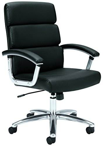 Mid Back Executive Leather Chair (HON Traction Executive Task Chair - Mid Back Leather Computer Chair for Office Desk, Black (VL103))