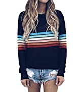 ECOWISH Women's Sweater Rainbow Colorful Striped Sweaters Long Sleeve Crew Neck Color Block Casua...