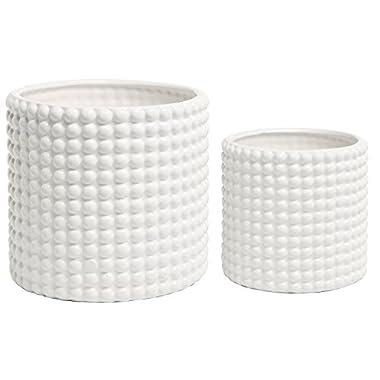 (Set of 2) White Ceramic Vintage-Style Hobnail Textured Flower Planter Pots / Storage Jars