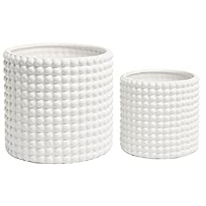 (Set of 2) White Ceramic Vintage-Style Hobnail Textured Flower Planter Pots / Storage Jars