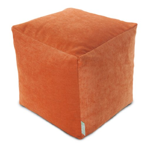 Majestic Home Goods Orange Villa Indoor Bean Bag Ottoman Pouf Cube 17
