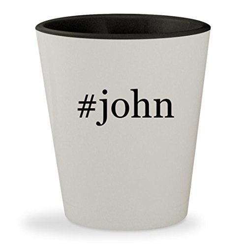 #john - Hashtag White Outer & Black Inner Ceramic 1.5oz Shot Glass
