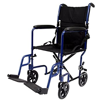 Image of Karman Healthcare LT-2017-BL Folding Aluminum Transport Chair, Blue, 17' Seat Width Health and Household