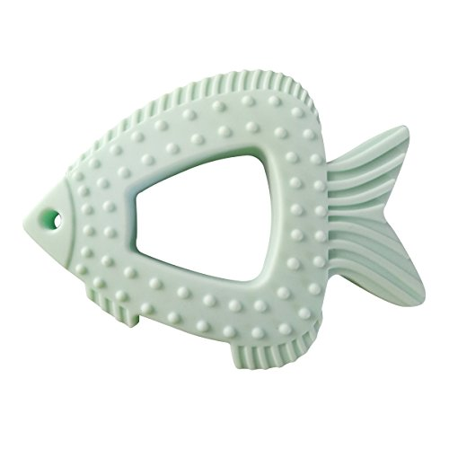 Megoday Baby Toys Teether Fish,Texture Design to Soothe Sore Gums,Green