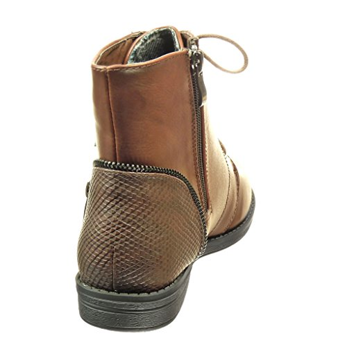 Angkorly - Zapatillas de Moda Botines botas militares mujer piel de serpiente cremallera Talón Tacón ancho 2 CM - Marrón