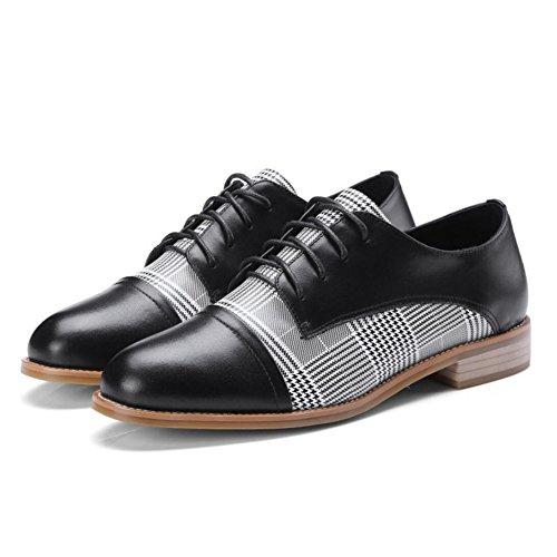 Schuhe Damen Jahreszeiten Vier Leder Black Schuhe Houndstooth Schwarz Weiß GAOLIXIA Arbeitsschuhe Business Schnürschuhe Damen Flache Freizeitschuhe HwadqYP