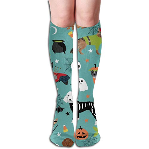 Dogs In Halloween Costumes Dog Breeds Dressed Up Fabric Turquoise Unisex Comfortable Crew Socks Athletic Casual Sock Best for Running, Athletic Sports, Flight Travel]()