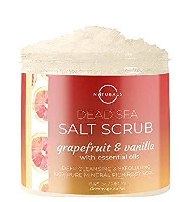 O Naturals Invigorating Grapefruit & Vanilla Dead Sea Salt Face & Body Scrub. Softens & Evens Skin Tone, Treats Acne & Cellulite, Promotes Circulation, Anti-Inflammatory. Avocado & Argan Oil. 8.45 Oz