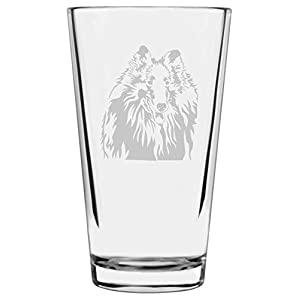 Rough Collie Dog Themed Etched All Purpose 16oz Libbey Pint Glass 3