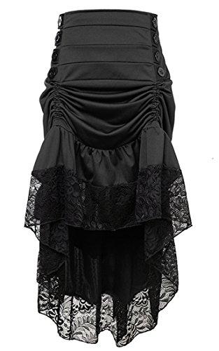 (Killreal Women's Steampunk Victorian Gothic High Waist Lace Trim Ruffled High Low Cyberpunk Skirt Black)