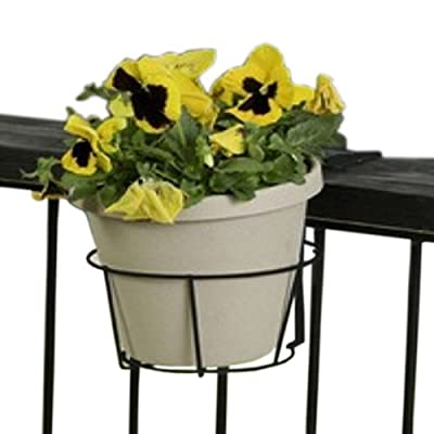 Panacea 89049 Ring Over The Deck Adjustable Flower Pot Holder, Black, 8-Inch
