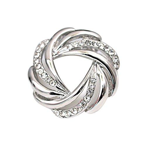 Maikun Women's Rhinestone Silk Fashionable Silver-Tone Scarves Ring Chiffon Buckle Gift for Valentine's Day (Rhinestone Silk)