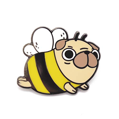 Noristudio Pug Bee Pug Enamel Pin for Pug Lovers