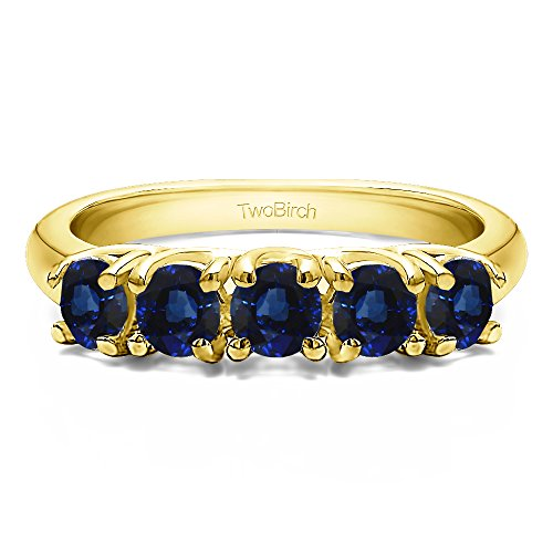 (10k Yellow Gold Sapphire .5 CT Sapphire Five Stone Trellis Set Ring (Size 3 To 15 1/4 Size Interval))
