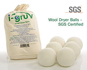 i-Gruv EcoFriendly Hypoallergenic Reusable Natural Fabric Softener Wool Dryer Balls, XL, Set of 6