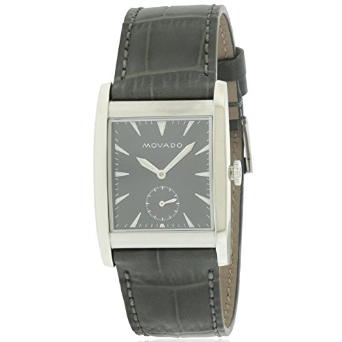 Men's Heritage Black Leather Band Steel Case Sapphire Crystal Swiss Quartz Analog Watch - Movado 3650048