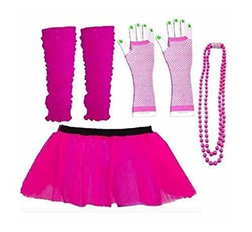 Rush Dance 80s Fancy Costume Set - TUTU & LEG WARMERS & FISHNET GLOVES & BEADS (Special Pink) (Pink Dance Costume)