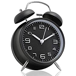 V.JUST 4 Inch Twin Bell Alarm Clock, Metal Frame 3D Dial with Backlight Function Desk Table Clock for Home & Office Black