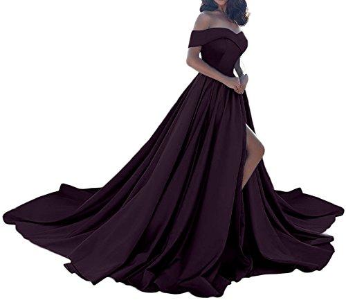 Wedding Evening Prom Gown (Amore Bridal Vintage Princess Off Shoulder Wedding Dress Satin Slit Evening Prom Gown Grape, 26W)